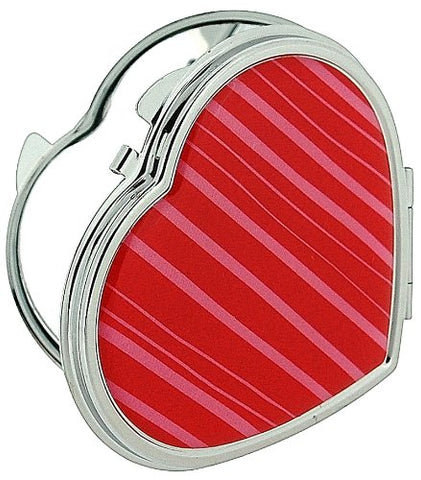 Compact Mirror Heart Shaped Silver Plated With Magnification Mirror (Stripes)