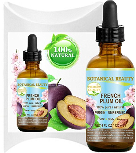 PLUM OIL French. 100% Pure / Natural / Virgin / Unrefined / Undiluted Cold Pressed Carrier Oil. For Face, Hair and Body. (4 Fl.oz - 120 ml.)