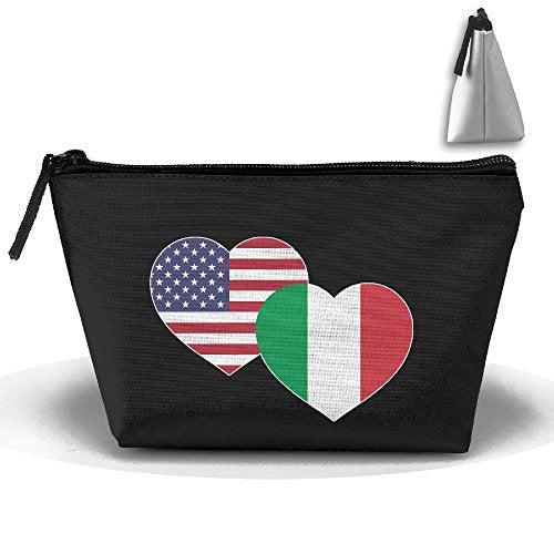 SWEET-YZ US Italian Flag Heart Cosmetic Bags Travel Storage Pouch Makeup Organizer