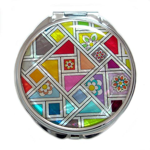 Mother of Pearl Patchwork Design Yellow Orange Blue Double Compact Magnifying Makeup Pocket Mirror