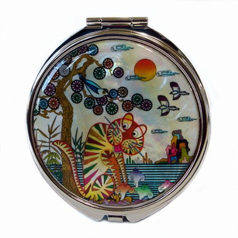 Mother of Pearl Tiger and Magpie Bird on Pine Tree Design White Double Compact Cosmetic Makeup Pocket Handbag Purse Mirror