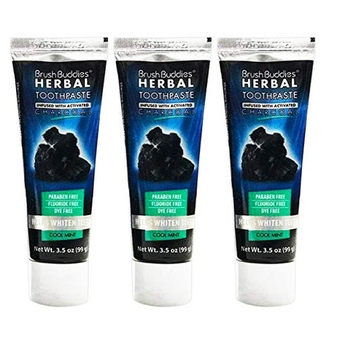 Herbal Activated Charcoal Teeth Whitening Toothpaste, Cool Mint Flavor, 3.5oz, 3 Pack