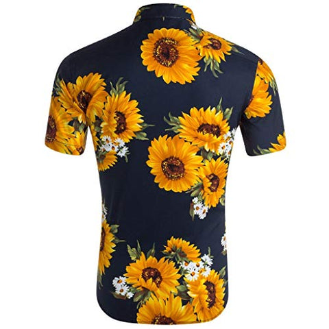 TOTAMALA Men's Shirt Loose Beach Hawaiian Sunflower Print Short Sleeve Button T-Shirt Top (Navy L)