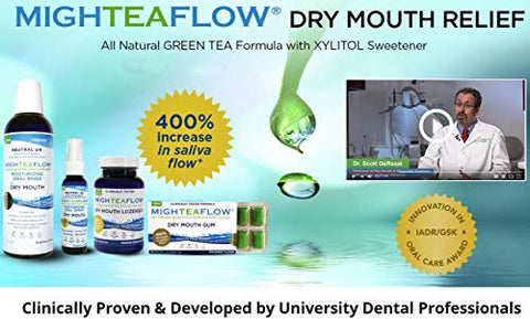 MighTeaFlow Dry Mouth Green Tea Gum with Xylitol, Sugar-Free Refresh Spearmint, Clinically Tested, Developed by University Dental Professionals. NO titanium dioxide and aspartame