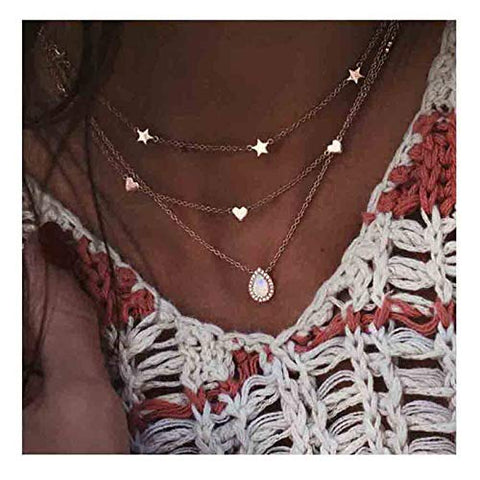 Edary Boho Layered Necklace Star Heart Necklaces Drop Water Pendant Gold Jewelry Accessories for Women and Girls.