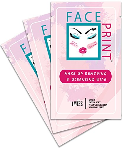 Face Print - Body Wipe Company - Premium makeup removing wipes - Facial cleansing on the go towelettes - 20 Individual Packs