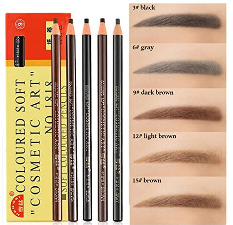 Xiaoyu Waterproof Microblading Pen, Waterproof Eyebrow Pencils, Peel-Off Eyebrow Pencils Set for Marking, Filling and Outlining, Tattoo Makeup and Microblading Supplies, 12PCS(5 Colors)