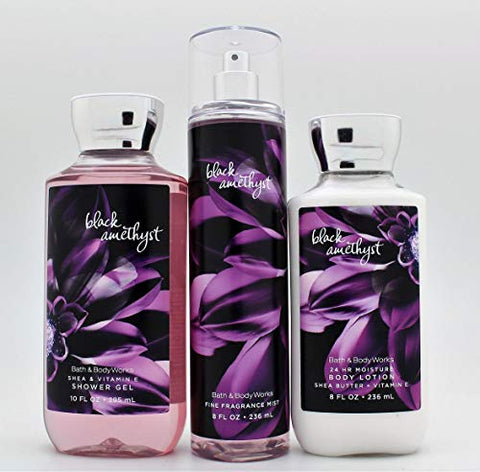 Bath and Body Works - Black Amethyst - Daily Trio - Shower Gel, Fine Fragrance Mist & Super Smooth Body Lotion- New 2019