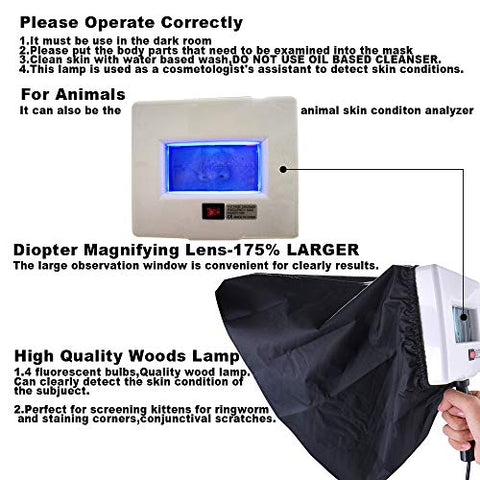 Woods Lamp Skin Analyzer,Professional Beauty Salon Skin Testing UV Magnifying Lamp Device Skin Health Care Wood Lamp With Light Blocking Hood,Portable Facial Skin Scanner Machine For Home&Pets