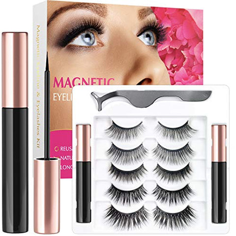 Votala Magnetic Eyelashes and Magnetic Eyeliner Kit, 5 Pairs of Different Styles Reusable 3D Magnetic Eyelashes with 2 Special Magnetic Eyeliners and Tweezers, with Natural Look (Dramatic)