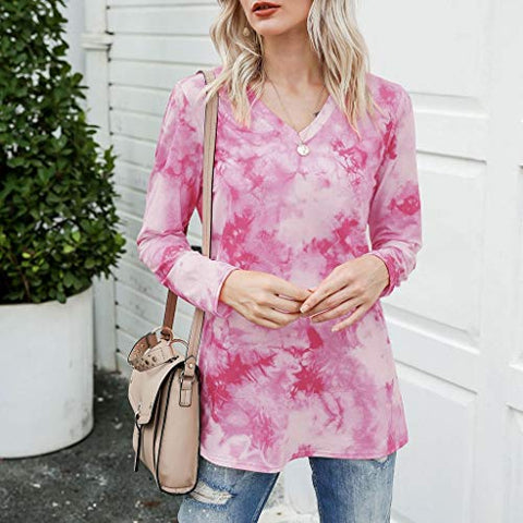 Eoeth Women's Casual V Neck Long Sleeve Gradient Contrast Color-Block Pullover Tie Dye Blouse Loose Tops Pink