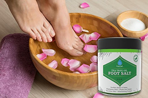 Pursonic Tea Tree Oil Foot Soak With Epsom Salt,Helps Soak Away Toenail Fungus, Athletes Foot & Stubborn Foot Odor - Softens Calluses & Soothes Sore Tired Feet, 21oz