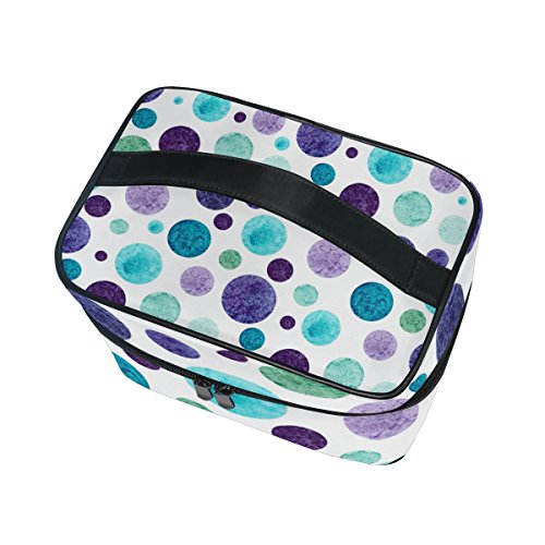 Cosmetic Bag Watercolor Blue And Purple Polka Dot Women Makeup Case Travel Storage Organizer
