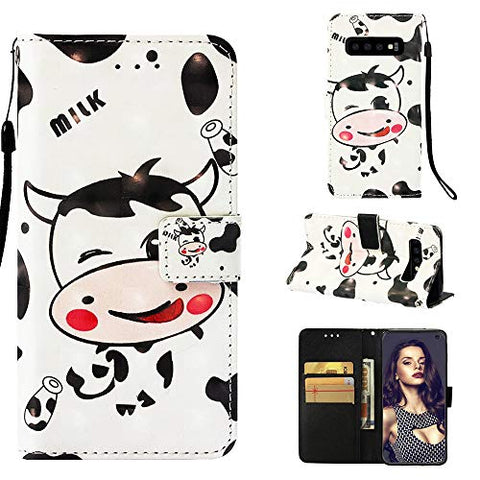 3D Wallet Case for Samsung Galaxy S10,Aoucase Slim Fancy Painted Durable Magnetic PU Leather Card Slot Soft inner Kickstand Strap Flip Case with Black Dual-use Pen - Milk Cow