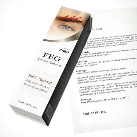 FEG Eyebrow Eye Brow Growth Length Thickness Darkness Enhancer Serum 100% Natural