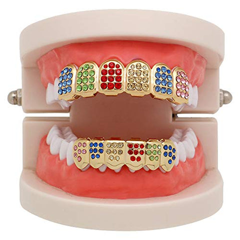 YanvanClearance Sale! 1 Pair (Upper/Lower) Hip hop Teeth,Rainbow Hip Hop Teeth Top Bottom Tooth Grill Set Copper Tooth Cap Jewelry for Teeth Mouth Grills Fashion Dental Removable (Gold)