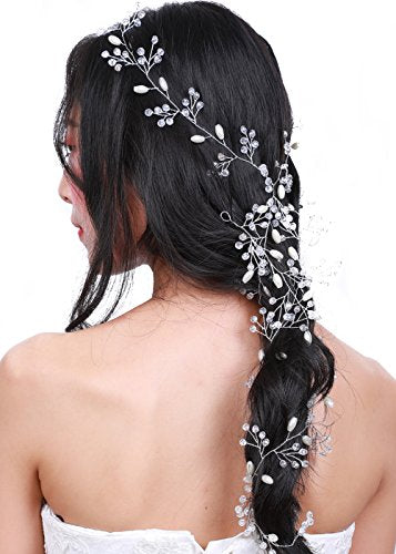 Missgrace Wedding Crystal Bridal Hair Vine - Bridal Jewelry Headpiece (100Cm/39.3In)