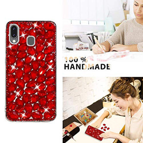 Bling Diamond Case for Galaxy M20, Mistars 3D Handmade Sparkle Glitter Crystal Rhinestone Hard PC Back Cover + Soft TPU Frame Protective Case for Samsung Galaxy M20, Red