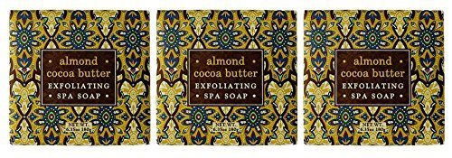Greenwich Bay ALMOND Exfoliating Spa Soap, Enriched with Almond Oil, Shea Butter and Cocoa Butter. Blended with Cocoa Bean Shell, No Parabens, No Sulfates 6.35 Oz. (3 Pack)