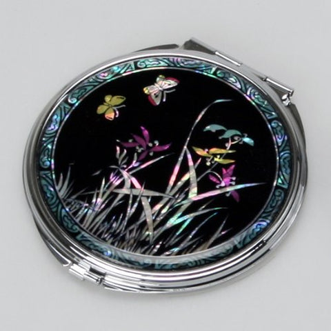 Mother of Pearl Black Art Metal Double Compact Cosmetic Lady Mirror with Orchid Design