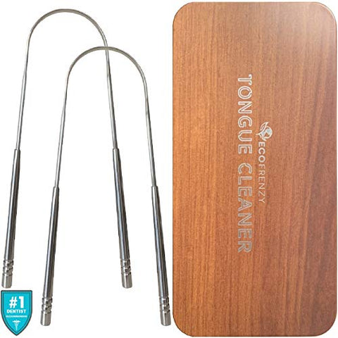 Tongue Scraper - Surgical Grade Stainless Steel Tongue Cleaner - Non-Synthetic Grip - Pack of 2 - Includes Tin Metal Travel Case.
