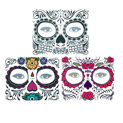 Artibetter 3 Sheets Temporary face Tattoo Black Skeleton Day of The Dead face Tattoo Rose Design for Masquerade Halloween and Parties