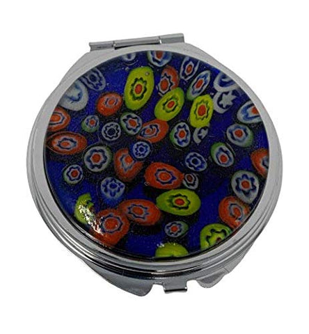 Handcrafted Art Glass Stainless Steel Makeup Compact Mirror (Blue)