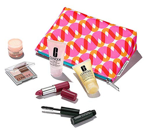 Clinique 7 Pcs 2018 Skincare Gift Set with Pop Lip Colour + Primer Full Size in Kapitza Makeup Bag ($70+ value)