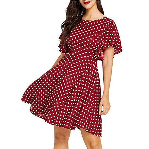 Henwerd Women's Casual Summer Dot Print A-Line Swing Flared Sleeve Cocktail Party Mini Dress (Wine,M)