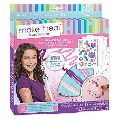 Make It Real  Shimmer Tattoos. Temporary Tattoos for Girls, DIY Temporary Tattoo Kit for Tweens Including Beauty Tape Sheets, Glitter Powders, Glitter Brush, and Gemstones