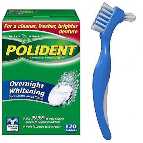 Polident Overnight Whitening 120 Tablets Easily Remove Stains Plaque Bundle With Dentu-Care Denture Brush Specifically Designed To Gently Clean Full Partial Dentures
