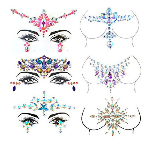 Mermaid Face Jewels, Rave Festival Body Face Gems Stickers Bindi Crystal Rhinestone Face Tattoos Glitter DIY Body Art Makeup Jewels 3 Sets