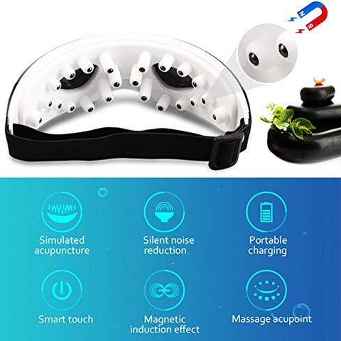 Electric Eye Massager Vibration Eyes Care Relieve Eye Fatigue Magnetic Therapy Eye Massage Rechargeable Eye Protection Massage Glasses