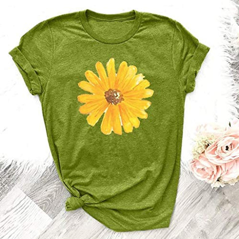 terbklf Flower Print Shirts for Women O Neck Short Sleeve Loose Blouse Shirt Ladies Fashion Tops Basic Tees for Women Green
