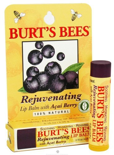Burt's Bees Lip Balm, Rejuvenating, with Acai Berry, 0.15 Oz / 4.25 G (Pack of 4)
