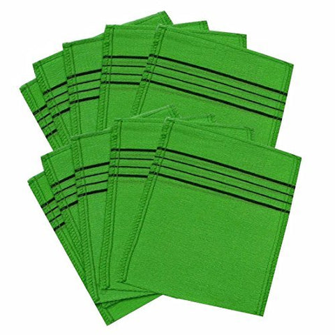 Korean Exfoliating Bath Washcloth 10pcs (Green)