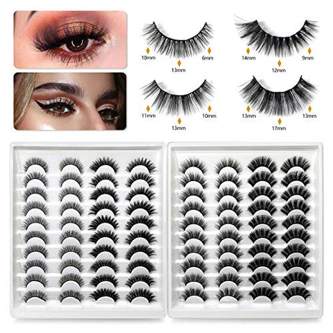 40 Pairs 3D Effect Full Strip Lashes Cross Fluffy Extension Pack False Eye Lashes Reusable Fake Eyelashes for Women Girls Daily Makeup Use