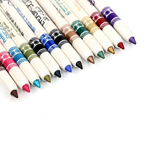 Frcolor 12 Colors Eye Liner Pencil Lip Liner Pencil Set