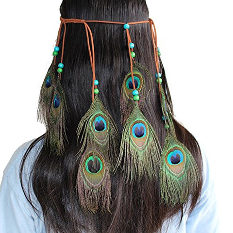 Xoemir Indiana Peacock Feather Head Chain for Girls Wedding Headpiece Headdress