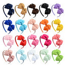 Image of 20pcs Multicolor Baby Girls Bowknot Headband Boutique Grosgrain Ribbon Bow Hairband Children Hair Accessories