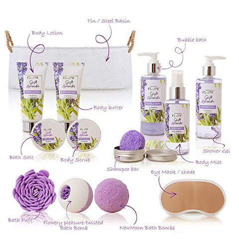 Spa Gift Baskets for Women Lavender Bath and Body At Home Spa Kit Mothers Day Spa Gifts Ideas - Luxury 15pcs with Bath Bombs, Shampoo Bar, Eye Mask, Shower Gel, Bubble Bath, Salts, Body Scrub Lotion