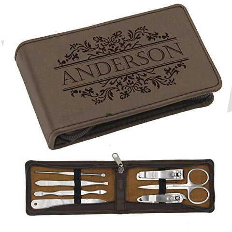 Custom Personalized Manicure Set - Monogrammed 7 Piece Travel and Grooming Kit Gift for Men, Women, Him, Her, Purse (Brown)