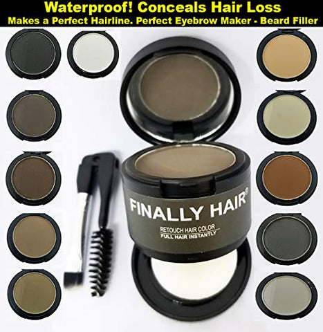 Finally Hair Light Brown Dab-on Hair Fibers & Hair Loss Concealer, Hairline Creator, Eye Brow Enhancer, and Beard Filler. Dab-on Hair Fiber Shadow Powder (Light Brown)
