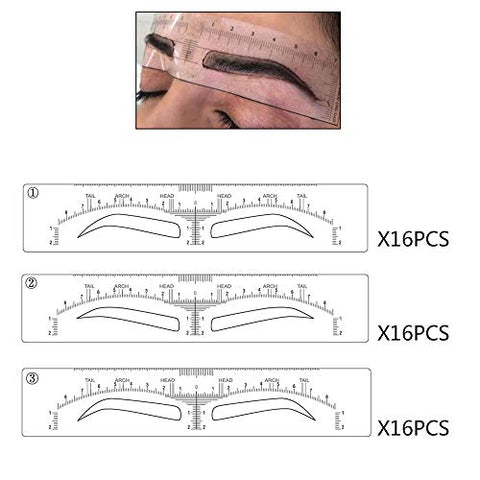 Eyebrow Stencils Microblading Mapping Ruler Stick on Sticker Eyebrow Shaping Stencils Disposable Adhesive Eyebrow Template Microblading Supplies Permanent Makeup Measure Tool 3 Shapes (48 pieces)