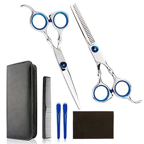 Professional Home Hair Cutting Kit - Quality Home Haircutting Scissors Barber/Salon/Home Thinning Shears Kit with Comb and Case for Men and Women