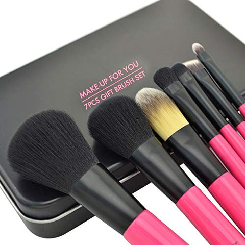 JOMKE Makeup Brush Set Foundation Blending Concealer Eye Face Liquid Powder Cream Brushes Sets with Iron Box 7 In 1 (Color : Black)