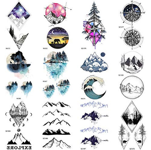 COKTAK 12Pieces/Lot Small Watercolor Mountain Tree Temporary Tattoos For Women Kids Geometric Body Art Arm Fake Tattoo Sticker Round Sheets Men Waterproof Tatoos Sheet Paper