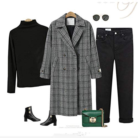 Willow S Women's Plaid Lapel Cardigan Jacket Windbreaker Plus Size Casual Loose Double-Breasted Padded Plus Cotton Coat Black