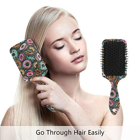 Linomo Hair Brush Colorful Donut Pattern Air Cushion Massage Comb for Women Kids, Nylon Brush for Wet Dry Curly Hair