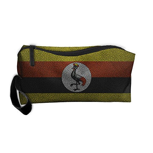WEEDKEYCAT Leather Texture Uganda Flag Rooster Travel Cosmetic Bag Pen Pencil Portable Toiletry Brush Storage,Multi-function Accessories Sewing Kit Bags Pouch Makeup Carry Case With Zipper